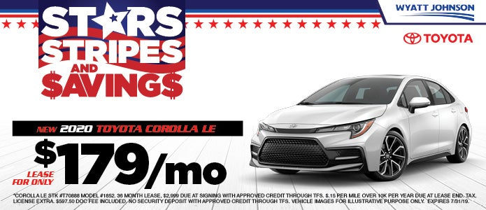 lease a 2020 corolla le for $179/month